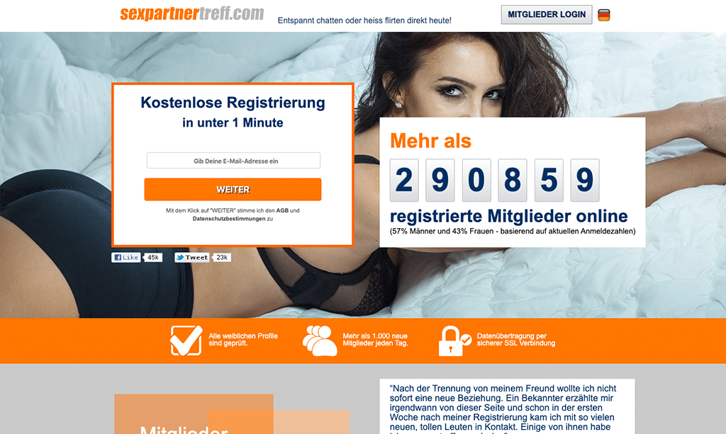 Auch SexpartnerTreff.com bringt dich zu geilen Ficktreffs in deiner Region